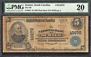 1902 SUMTER South Carolina  $5  Fr.605  National Bank CH #10670  PMG VF20