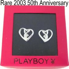 RARE 2003 50TH ANNIVERSARY Playboy Earrings 925 Sterling Silver Bunny Heart Stud