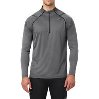 Asics Mens Icon Long Sleeved 1/2 Zip Top Grey Sports Running Half Breathable