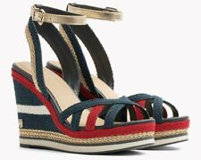 TOMMY HILFIGER FW02396 CORPORATE WEDGE SANDAL SPORTY TEXTILE VIETNAM ZEPPE BLU R