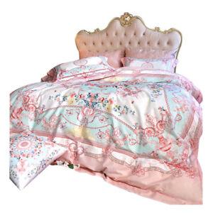 6pcs Bedding Set Royal Luxury Pure cotton Duvet set Flat sheet Deco pillowcases