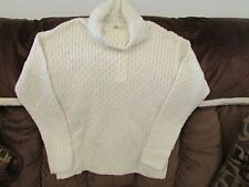 "Ladies ""Sonoma"" Size M, Pristine (White), LS, Open, Squiggle, Cowl Neck,Sweater"