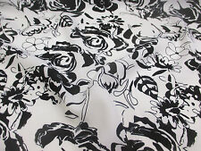 "5 Metres White & Black Abstract Floral Printed Summer Dress fabric. 58"" Wide."