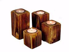 Kerzenständer / Teelichthalter geflammt, 4er Set, Fichte, Kiefer, Holz, massiv