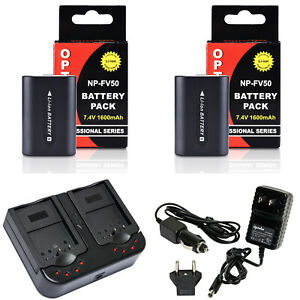 Opteka NP-FV50 Battery x2 & Charger for Sony DCR-SX44 SX45 SX63 SX65 SX83 SX85