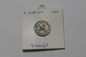 TURKEY OTTOMAN 2 KURUSH 1903 SILVER B38 #Z6662