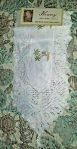 """Table Runner, Palm Tree Print, White Lace Trim  13""""x 72"""" NEW"""