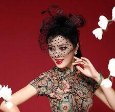 Black Or White Birdcage Veil Feather Fascinator Bridal Wedding Hair Clip