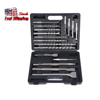 17pc SDS Plus Rotary Hammer Drill Bits Chisel Concrete For Masonry Hole Tool Set