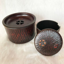 Set 2 Japanese Old Lacquerware Flower Sculpture TEA CADDY Natsume Container Vtg