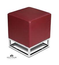 petit chic Cube lederhocker disponible en cuir rouge, blanc, noir, marron