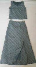 Laura Ashley linen 2 piece top + skirt grey - green color SIZE 10 New