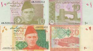 Pakistan 2 Note Set: 10 & 20 Rupees (2017/18) - p45m, p55k UNC