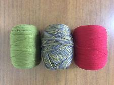 3 Vintage Yarn Knitting Crochet Wool Balls 1960s 1970s Red Green Yellow Grey
