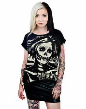 Too Fast Senorita Skull Pin Up Nala Chiffon & Lace Loose Fit Top T-shirt