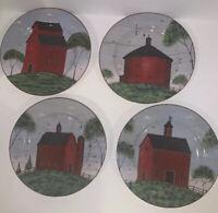 "Sakura Warren Kimble Barns Stoneware - 4 Dessert/Salad Plates  EUC 8"" Diameter"