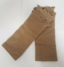 Ladies Tan Brown Ruffle Hand Warmers Fingerless Gloves Soft knitted Mitten H2