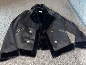 River Island Faux Fur Aviator Jacket Size 12 Bnwots