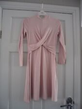 "TOPSHOP PETITE - gorgeous baby pink ""knot twist""centre fit & flare dress size 12"