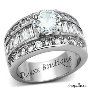 STUNNING ROUND CUT CZ STAINLESS STEEL WIDE BAND ENGAGEMENT RING WOMEN'S SZ 5-10