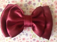 "3""SMALL HANDMADE DARK SATIN FABRIC DOUBLE BOW HAIR CLIP CUTE VINTAGE RETRO STYLE"