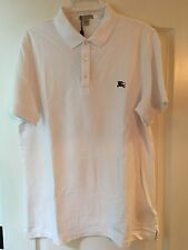 NWT Burberry Brit Men's XXL White Short Sleeve Polo Shirt With Burgundy Logo