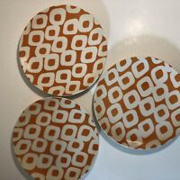 Pottery Barn Graphic Harvest Orange And White 8 1/2 Inch Round Plate Set Of 3