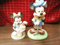 LOT of 2 Disney Vintage Ceramic Mickey & Minnie Mouse Golf Figurines Collectible