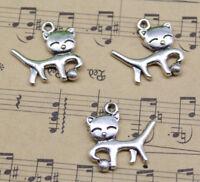 Wholesale Lot Cat Retro Alloy Charm Pendants Jewelry Making DIY 18*19mm