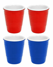 4 Hard Plastic Classic Red & Blue Shot Glasses Drink Solo Or W/ Friend Party Set