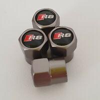 AUDI r8 Gun Metal Grey Wheel Valve Dust caps all models S LINE S-line RS 4 TT