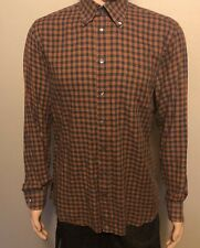 Men's Luciano Barbera Long Sleeve Button Front Plaid Shirt Orange Navy Large