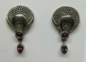 Signed SAJEN STERLING SILVER Drop / Dangle Gemstone Pierced Earrings