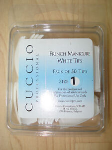 Cuccio Professional French Manicure White Tips Pack of 50 Tips Size 1 BNIP