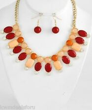 Ladies Fashion Jewelry Gold Tone Red Peach Necklace Charm Fish Hook Earring Set