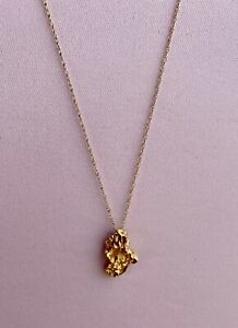 """Ladies 14K Solid Yellow Gold Nugget Pendant with 10K Gold Fine 18"""" chain 2 Grams"""