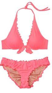 Victoria's Secret Swim Capri Ruffle Halter Top Cheeky Bikini Set 38DD/XXL NEW