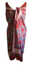Anokhi Red, Blue, Pink Floral Cotton Sarong/Wrap, Gold Stamping and Beading