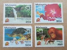 Malaysia 1994 Animal Turtle Fish Flower AseanPex Overprint 4v Mint (not perfect)