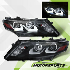 [U Style Neon Tube] 2010-2012 Honda Accord Crosstour Black Projector Headlights