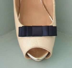 2 Small Navy Blue Triple Bow Clips for Shoes - other colours on request