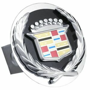 """Cadillac Black and Chrome Stainless Steel 1.25"""" Trailer Tow Hitch Plug Cover"""