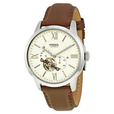Fossil Townsman Mechanical White Dial Brown Leather Mens Watch ME3064