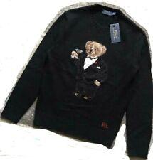 XS XSmall Polo Ralph Lauren Bear Tuxedo Martini wool cashmere black sweater $395