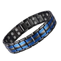 Men's Stainless Steel Magnetic Therapy Health Bracelet Pain Relief Blue Black