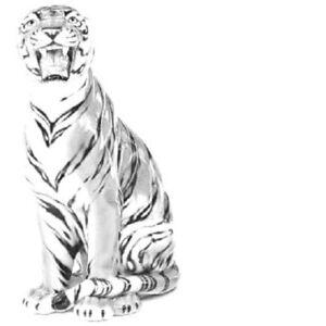 exklusive Dekofigur TIGER weiß 86cm Italien Design Keramik handmade