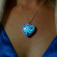 Magical Aqua Blue Love Heart Glow in the Dark Pendant Necklace Party Prom Gift