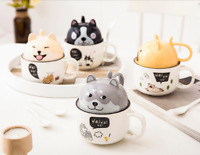 Cute Lovely Dog Coffee mug with lid&spoon Big Dual-use Tea cups Ceramic Gift NEW