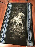 "Vintage Acrylic Mexican Blanket Horse Blue Light Beige Vintage Size 80 "" X 52"""