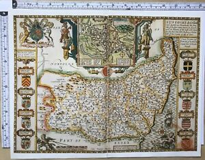 Old Antique Tudor map of Suffolk, England: Ipswich: John Speed 1600's Reprint